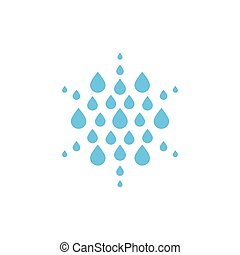 Falling drops icon. Clean water logo template. Round rainy...
