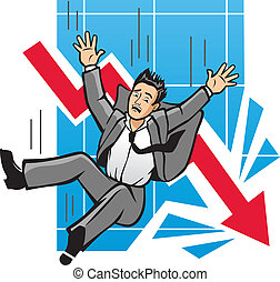 Falling Economy - Vector Illustration of a man falling as a...