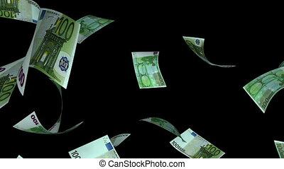 Falling Euro (Loop - Matte) - Falling 100 Euro bills....