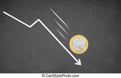 Falling Euro money cash.