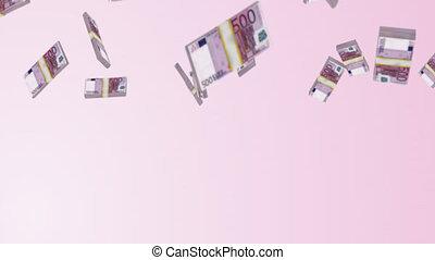 Falling Euros 2 - 3D rendered bundles of Euros falling from...
