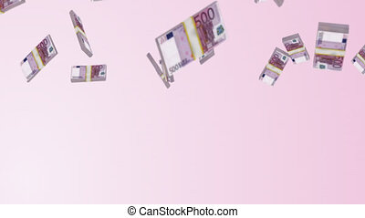 Falling Euros 2 - 3D rendered bundles of Euros falling from...