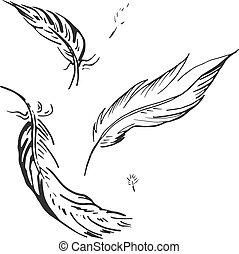 falling feather illustration