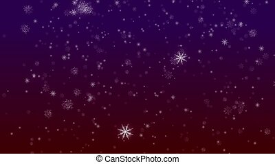 Falling Flakes of Snow Purple-Red Loop - Perfectly seamless...