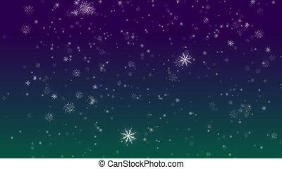 Falling Flakes of Snow Teal-Purple Loop - Perfectly seamless...