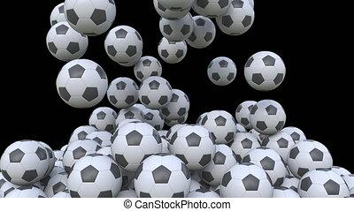 Falling football balls, alpha matte for easy background...