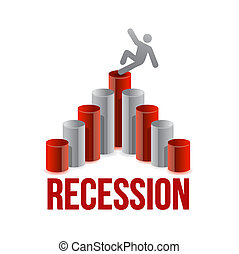 falling for chart. recession graph illustration