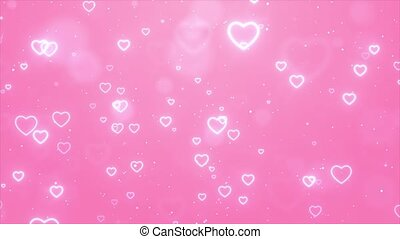 Falling From Above Romantic Pink Love Heart Particles Loop ...