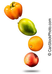 Falling fruits and vegetables on white background - Falling...