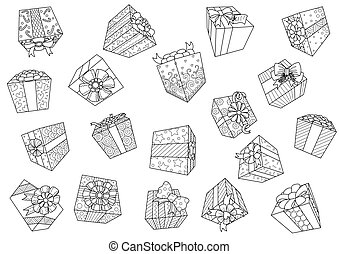 Falling gift boxes isolated on white background for design element. Vector illustration