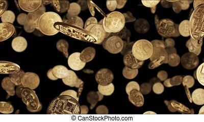 Falling gold coins bitcoin 4k