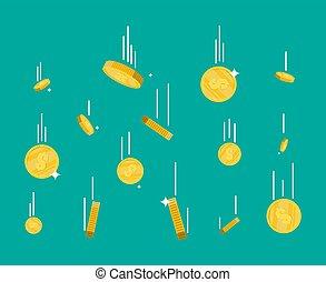 Falling gold coins. Money rain.