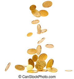 Falling Gold Coins - Old gold coins isolated on white...