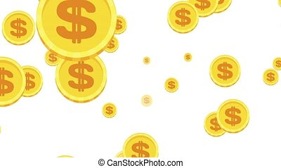 Falling gold coins on a white background.