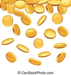 Falling gold coins. Vector financial concept background