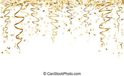 falling gold confetti - falling oval confetti and ribbons...