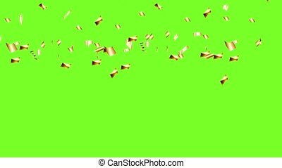Falling gold different confetti on a green background to ...