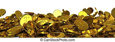 Falling gold dollar coins. 3D rendering