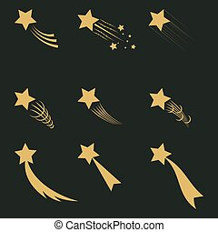 Falling gold stars vector set Icons of meteorites and comets...