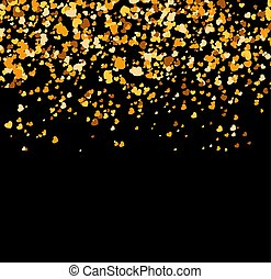 Falling golden hearts on black background
