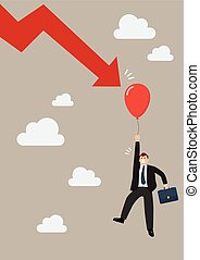 Falling graph down to pop the balloon of businessman