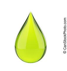 Falling green drop