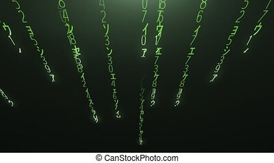 Falling green matrix code 4k