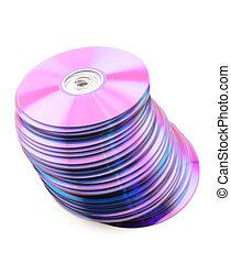 Falling heap of purple CDs