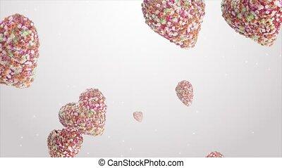 Falling hearts of flowers