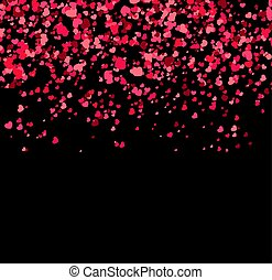 Falling hearts on black background