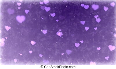 Falling hearts on frozen background. Seamless loop animation of Valentine's Day holiday.
