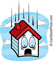 Falling House - A cartoon house falling and scared.