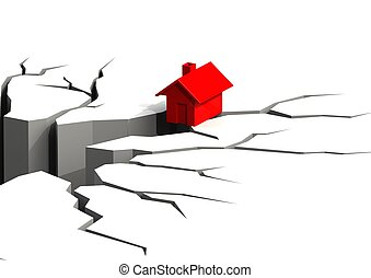 Falling house - Rendered artwork with white background