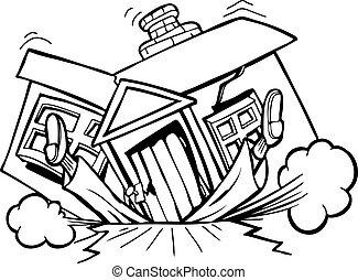 """Falling house - Image based on the phrase, \"""" I don\'t need..."""