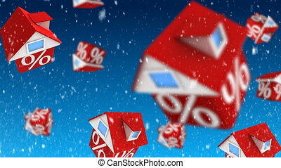 Sale - Falling houses with percent symbol on blue background...