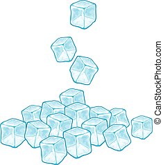 falling ice cubes vector illustration