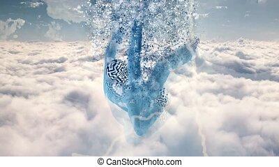Falling in dream. Surreal clouds