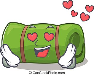 falling In love cute camping mat Scroll cartoon mascot...