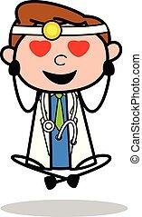 Falling in Love - Professional Cartoon Doctor Vector Illustration