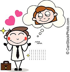 Falling in Love with a Girl - Office Businessman Employee Cartoon Vector Illustration