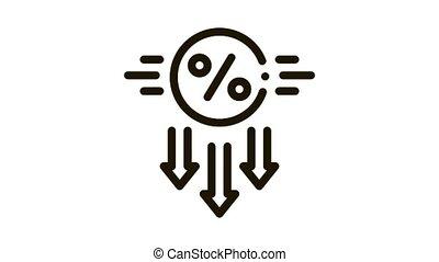 falling interest down Icon Animation. black falling interest down animated icon on white background