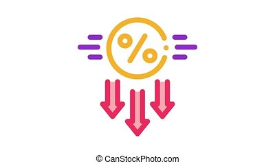 falling interest down Icon Animation. color falling interest down animated icon on white background