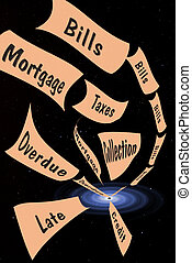 Falling into Debt - Bills and overdue notices falling into a...