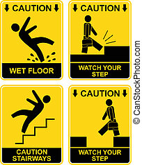 Wet floor, stairways, watch your step - set of vector caution signs. Yellow and black warning icons. Stop ahead, warning - go slow, warning- tripping hazard