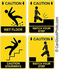 Falling man - caution sign - Wet floor, stairways, watch...
