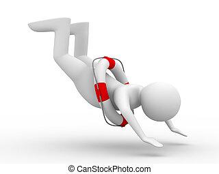 falling man on white background. Isolated 3D image