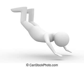 falling man on white background. Isolated 3D image
