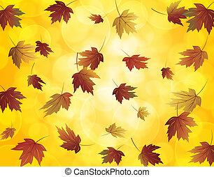 Falling Maple Leaves in Autumn Illustration