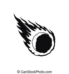 Falling meteor with long tail icon in simple style on a white background