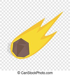 Falling meteor with long tail isometric icon 3d on a...